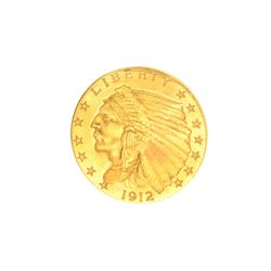 Very Rare 1912 $2.50 U.S. Indian Head Gold Coin Great Investment