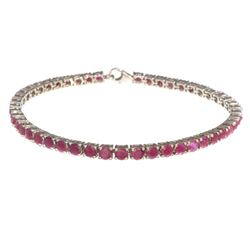 APP: 2.3k Fine Jewelry 9.60CT Ruby And Sterling Silver Tennis Bracelet