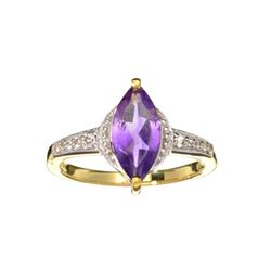 Fine Jewelry 1.45CT Purple Amethyst And White Sapphire W Gold Overlay Sterling Silver Ring