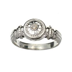 APP: 0.8k Fine Jewelry 0.05CT Round Cut Diamond And Platinum Over Sterling Silver Ring
