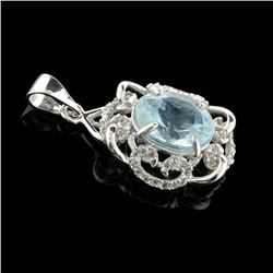 Fine Jewelry 2.34CT Aqua Marine Beryl And Colorless Topaz Platinum Over Sterling Silver Pendant