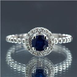 APP: 2.4k *Fine Jewelry 14KT White Gold, 0.64CT Round Brilliant Cut Blue Sapphire And 0.16CT Diamond
