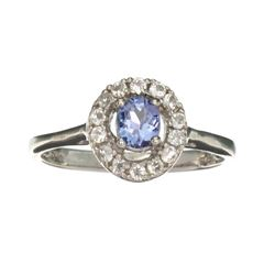 APP: 0.7k Fine Jewelry 0.55CT Tanzanite And Colorless Topaz Platinum Over Sterling Silver Ring