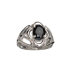 APP: 1k Fine Jewelry 2.50CT Oval Cut Dark Blue Sapphire And Sterling Silver Ring