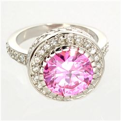 Platinum Overlay Sterling Silver French Pink Cubic Zirconium Ring