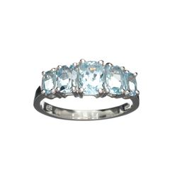APP: 0.3k Fine Jewelry 3.00CT Cushion Cut Blue Topaz And Sterling Silver Ring