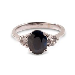 APP: 1.3k 14 kt. White Gold, 2.75CT Blue And White Sapphire Ring