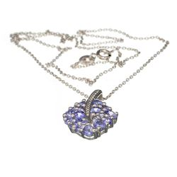 APP: 1.5k Fine Jewelry 1.48CT Oval/Round Cut Tanzanite Over Sterling Silver Pendant With Chain
