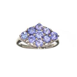 APP: 1.6k Fine Jewelry 1.80CT Round Cut Tanzanite And Sterling Silver Cluster Ring
