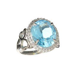 APP: 0.9k Fine Jewelry Designer Sebastian, 9.45CT Blue Topaz And Diamond Sterling Silver Ring