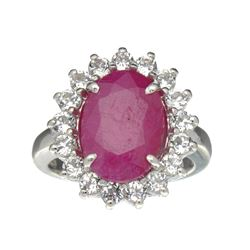 APP: 1.3k Fine Jewelry Designer Sebastian, 6.81CT Ruby And White Topaz Sterling Silver Ring