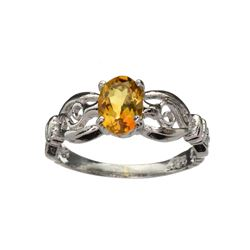 APP: 0.6k Fine Jewelry 0.86CT Oval Cut Golden Citrine Quartz And Platinum Over Sterling Silver Ring