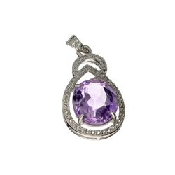 APP: 0.2k Fine Jewelry 8.40CT Purple Amethyst And White Sapphire Sterling Silver Pendant