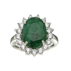 Fine Jewelry Designer Sebastian, Emerald And White Sapphire Sterling Silver Ring