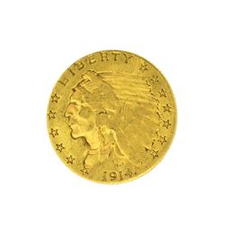1914 $2.50 U.S. Indian Head Gold Coin