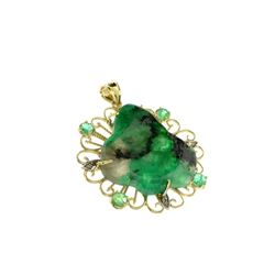 Fine Jewelry 14 KT Gold, 17.80CT Rare Natural Form Green Beryl Columbian Emerald And Diamond Pendant
