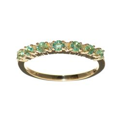 Fine Jewelry, Designer Sebastian 14 KT Gold, 0.59CT Emerald and Round Brilliant Cut Diamond Ring