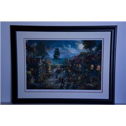 Rare Thomas Kinkade Original Ltd Edt Numberd Lithograph Plate Signed Framed Pirates of the Caribbean
