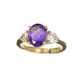 APP: 0.9k Fine Jewelry Designer Sebastian 14 KT Gold, 2.26CT Purple Amethyst And White Sapphire Ring