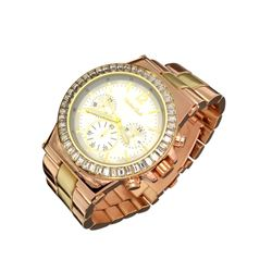 New Women's Montres Carlo, Stainless Steel Back, Water Resistant, Quartz Movement, Metal Band Watch