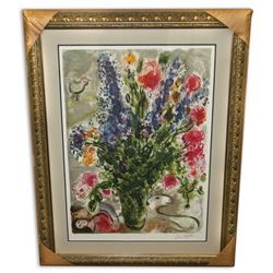 Marc Chagall (After) 'Les Lupins Bleu' Museum Framed & Matted