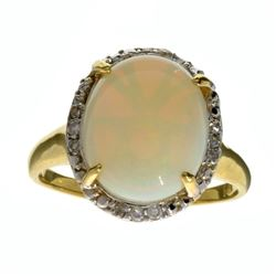 APP: 2.6k 14 kt. Yellow/White Gold, 2.71CT Opal And Diamond Ring