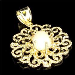 APP: 2.1k 14 kt. Gold, 1.71CT Pear Cut Cabochon Crystal Opal Pendant