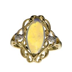 APP: 1.8k 14 kt. Yellow/White Gold, 1.57CT Opal And Diamond Ring