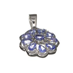 APP: 1.8k Fine Jewelry 1.80CT Mixed Cut Tanzanite And Platinum Over Sterling Silver Pendant