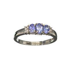 APP: 0.7k Fine Jewelry 0.70CT Oval Cut Tanzanite And White Sapphire Sterling Silver Ring