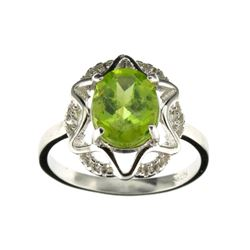 APP: 0.9k Fine Jewelry 2.28CT Green Peridot And Colorless Topaz Platinum Over Sterling Silver Ring