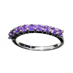 Fine Jewelry 0.40CT Round Cut Purple Amethyst Quartz And Platinum Over Sterling Silver Ring