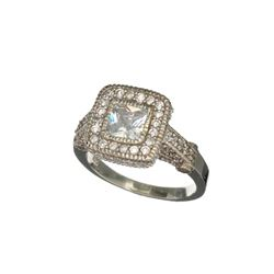 Platinum Overlay Sterling Silver French Cubic Zirconium Ring