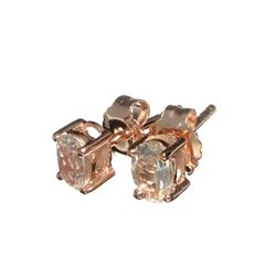 Fine Jewelry 0.85CT Oval Cut Morganite W A Rose Gold Overlay And Sterling Silver Earrings