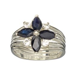 APP: 1k Fine Jewelry Designer Sebastian, 1.88CT Sapphire And White Topaz Sterling Silver Ring