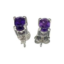 APP: 0.4k 0.85CT Oval Cut Amethyst Solitaire Sterling Silver Earrings