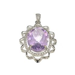 APP: 1.2k Fine Jewelry 11.55CT Purple Amethyst And White Sapphire Sterling Silver Pendant