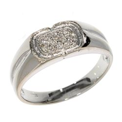 APP: 0.8k 0.04CT Round Cut Diamond and Platinum Over Sterling Silver Ring