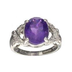 APP: 0.5k Fine Jewelry Designer Sebastian, 3.16CT Amethyst And White Topaz Sterling Silver Ring