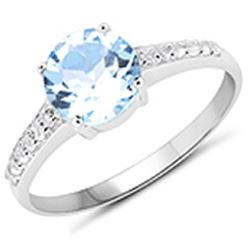 APP: 0.6k 2.65CT Round Cut Blue And White Topaz 925 Sterling Silver Ring