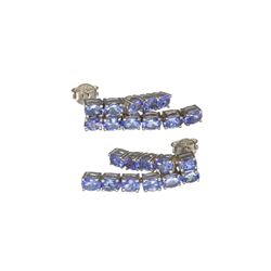 APP: 2.8k Fine Jewelry 3.66CT Oval Cut Tanzanite And Platinum Over Sterling Silver Earrings