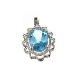 APP: 1.1k 14.40CT Greenish Blue Topaz And White Sapphire Sterling Silver Pendant