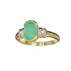 APP: 1k Fine Jewelry Designer Sebastian 14 KT Gold, 1.11CT Green Emerald And White Sapphire Ring