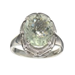 APP: 0.5k Fine Jewelry Designer Sebastian, 4.36CT Oval Cut Green Quartz And Sterling Silver Ring