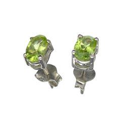 APP: 0.2k 0.96CT Oval Cut Peridot Solitaire Sterling Silver Earrings