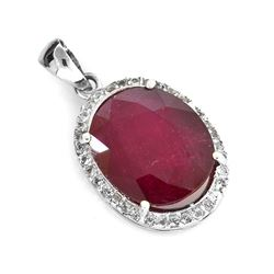 APP: 3k 6.32CT Ruby And Topaz Platinum Over Sterling Silver Pendant
