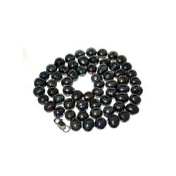 APP: 0.4k 16'' Black Dyed Pearl Strand with Sterling Silver Clasp Necklace