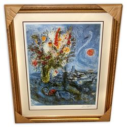 Marc Chagall (After) 'La Dormeuse Aux Fleurs'  Framed & Matted