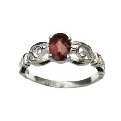 APP: 0.7k Fine Jewelry 1.00CT Oval Cut Almandite Garnet And Platinum Over Sterling Silver Ring