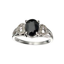 APP: 0.7k Fine Jewelry 1.75CT Blue Sapphire And Colorless Topaz Platinum Over Sterling Silver Ring